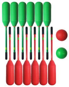 Knotsbal Set Super (12 sticks + 2 ballen) Groen / Rood
